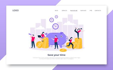 Time is money. Save time business landing page concept flat style vector illustration isolated on white background. Financial investment and marketing planning of money growth with piggy bank, people. 向量圖像