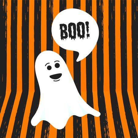 Boo ghost halloween message concept. Flying halloween funny spooky ghost character say BOO with text space in the speech bubble vector illustration isolated on orange striped background. Ilustração