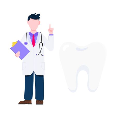 Doctor and bog tooth concept. Dentist standing and holding clipboard flat style design vector illustration isolated on white background. Medical center hospital employee. 일러스트