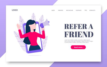 Refer a friend flat style design vector illustration concept. Woman with megaphone loud speaker standing up in the smartphone and shout out to the people. Friendly reference program.