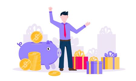 Earn points business concept flat style design vector illustration. Loyalty reward points for purchase cashback program. Earn and get bonus signs. Happy man standing near gift boxes and piggy bank.