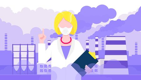 Confused woman doctor in mask against smog. Fine dust, air pollution, industrial smog protection concept flat style design vector illustration. Industrial factory pipes with huge clouds of smoke.