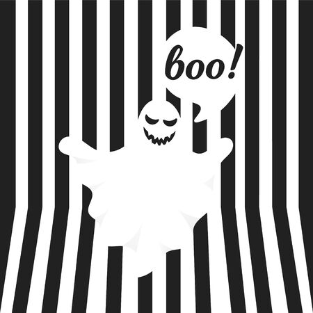 Boo ghost halloween message concept. Flying halloween funny spooky ghost character say BOO with text space in the speech bubble vector illustration isolated on black striped background. 일러스트