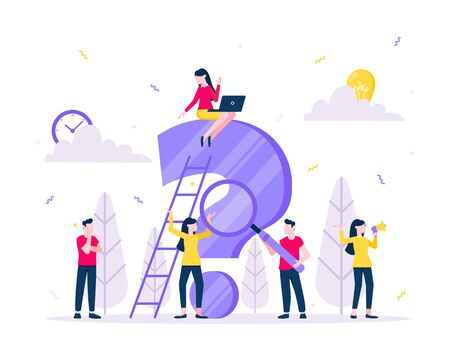 Q and A or FAQ concept with tiny people character, big question mark, frequently asked questions template. Answers business support concept flat style design vector illustration.