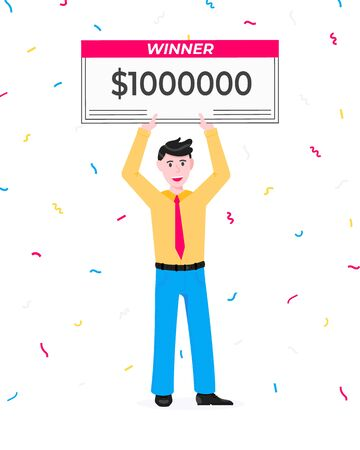 Happy lottery winner with big prize paycheck. Fortune lottery or casino gambling lucky games concept flat style design vector illustration isolated white background. Man standing up with check.