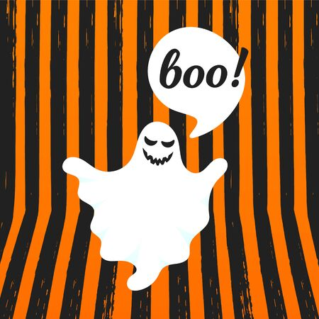 Boo ghost halloween message concept. Flying halloween funny spooky ghost character say BOO with text space in the speech bubble vector illustration isolated on orange striped background. 일러스트