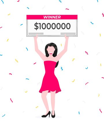 Happy lottery winner with big prize paycheck. Fortune lottery or casino gambling lucky games concept flat style design vector illustration isolated white background. Woman standing up with check.
