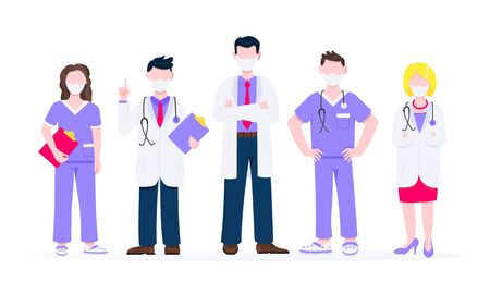 Successful team of medical employee doctors with face masks vector illustration isolated on white background. Three hospital or medic clinic staff doctors standing up with equipment. Ilustracja