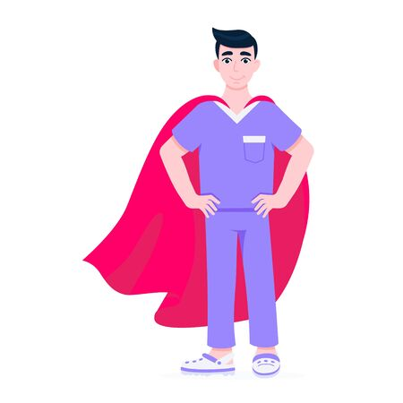 Young male nurse hospital medical employee with hero cape behind fights against diseases and viruses on frontline flat style vector illustration. Future doctor or surgeon medical clinic staff new hero