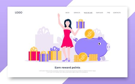 Earn points business landing page concept flat style design vector illustration. Loyalty reward points for purchase cashback program. Earn and get bonus signs. Happy woman standing near gift boxes.