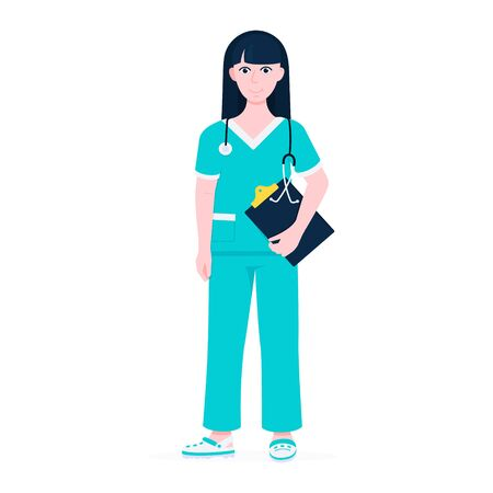 Surgeon doctor standing with clipboard and face mask flat style design vector illustration isolated on white background. Medical clinic hospital staff employee.