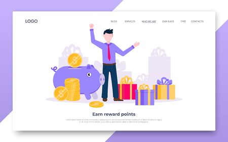 Earn points business landing page concept flat style design vector illustration. Loyalty reward points for purchase cashback program. Earn and get bonus signs. Happy man standing near gift boxes.