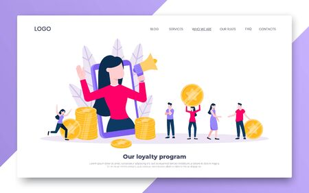 Loyalty program landing page flat style design vector illustration concept. Woman with megaphone loud speaker standing up in the smartphone and shout out to the people. Refer a friend program.