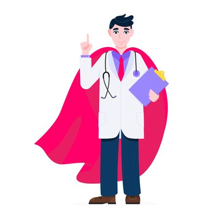 Young adult doctor hospital medical employee with hero cape behind fights against diseases and viruses on frontline flat style vector illustration. Doctor physician medical clinic staff new hero 일러스트