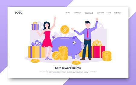 Earn points business landing page concept flat style design vector illustration. Loyalty reward points for purchase cashback program. Earn and get bonus signs. Happy people standing near gift boxes.