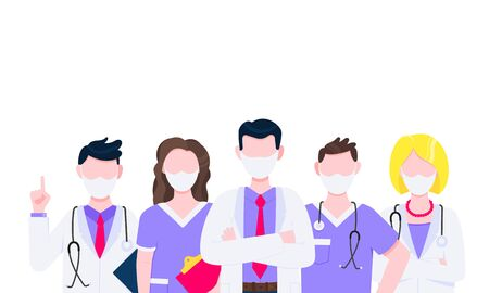 Successful team of medical employee doctors with face masks vector illustration isolated on white background. Three hospital or medic clinic staff doctors standing up with equipment.  イラスト・ベクター素材