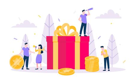 Online reward flat style design vector illustration business concept. Big gift box and tiny people standing up and shouting out to the people. Presents for new costomers and refer a friends.
