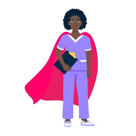 Young female nurse hospital medical employee with hero cape behind fights against diseases and viruses on frontline flat style vector illustration. Future doctor or surgeon medical clinic new hero.