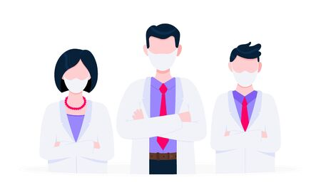 Successful team of medical employee doctors with face masks vector illustration isolated on white background. Three hospital or medic clinic staff doctors standing up with equipment. Stock Illustratie