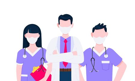 Successful team of medical employee doctors with face masks vector illustration isolated on white background. Three hospital or medic clinic staff doctors standing up with equipment. 일러스트