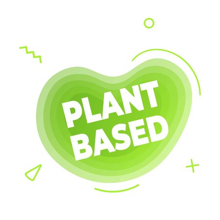 Plant based vegan diet icon sign with modern liquid abstract elements graphic gradient flat style design fluid vector illustration. Vegan, vegetarian suitable symbol logo with green cloud text.