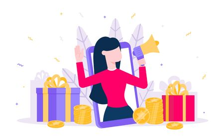 Online reward flat style design vector illustration isolated on white background. Woman with megaphone and gift box standin up in the smartphone and shout out to the people.