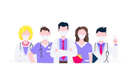 Successful team of medical employee doctors with face masks vector illustration isolated on white background. Hospital or medic clinic staff doctors standing up with equipment. 일러스트