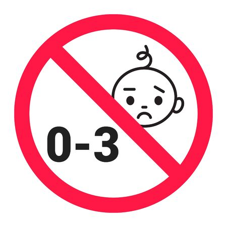 Choking hazard forbidden sign sticker not suitable for children under 3 years isolated on white background vector illustration. Sharp edges and small parts warning. 일러스트