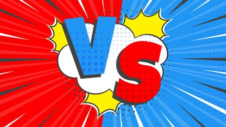 Versus screen flat style design vector illustration. Fight screen for battle or gaming. Red versus blue. Fight.