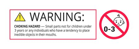 Choking hazard forbidden sign sticker not suitable for children under 3 years isolated on white background vector illustration. Warning triangle, sharp edges and small parts danger. Vetores