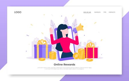 Online reward flat style design vector illustration landing page concept. Big gift box and tiny people standing up and shouting out to the people. Presents for new customers and refer a friends.