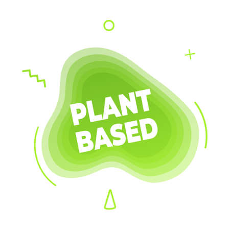 Plant based vegan diet icon sign with modern liquid abstract elements graphic gradient flat style design fluid vector illustration. Vegan, vegetarian suitable symbol with green cloud text.