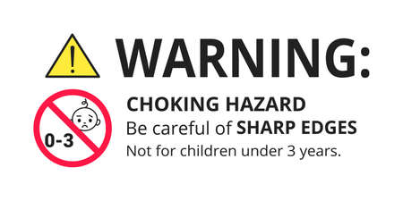 Choking hazard forbidden sign sticker not suitable for children under 3 years isolated on white background vector illustration. Warning triangle, sharp edges and small parts danger.