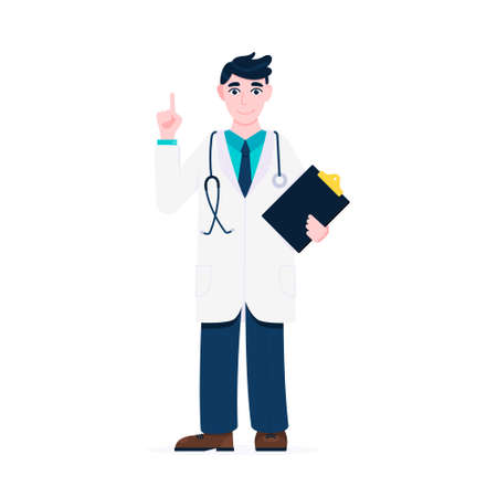 Doctor standing and hold clipboard and stethoscope with index finger flat style design vector illustration isolated on white background. Medical center hospital employee. Stock Illustratie