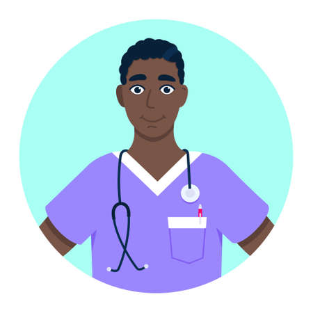 Doctor avatar character standing in the circle flat style design vector illustration isolated on white background. Medical clinic hospital staff employee icon.