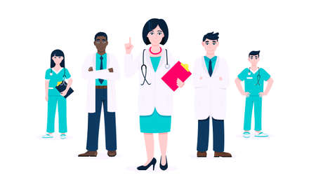 Successful doctors team of medical employee vector illustration isolated on white background. Hospital or medic clinic staff doctor, surgeon, nurse standing up with equipment.