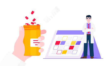Medicine schedule or medical reminder planner flat style design vector illustration with date calendar, man doctor and pill bottle isolated on white background. Health care appointment service. Ilustrace