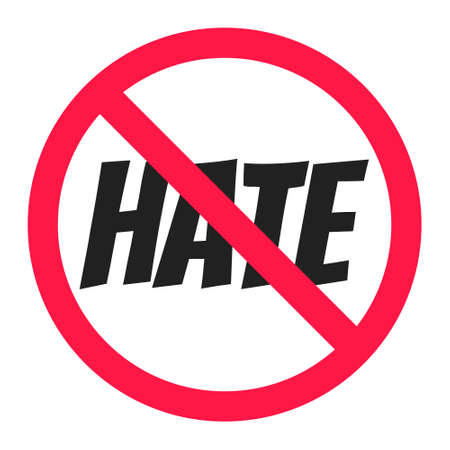 Stop hate round circle icon sign flat style design vector illustration. Anti hate boycott symbol isolated on white background. Ilustración de vector