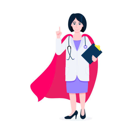 Young adult doctor with hero cape behind hospital medical employee fights against diseases and viruses on frontline flat style vector illustration. Doctor physician medical clinic staff new hero. Illustration
