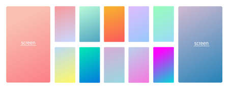 Pastel gradient smooth and vibrant soft color background set for devices, pc and modern smartphone screen soft pastel color backgrounds vector ux and ui design illustration isolated on white. Illustration