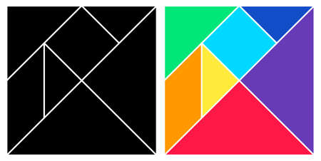 Tangram black and colorful base square brain game with pieces flat style design vector illustraition isolated on whiye background.