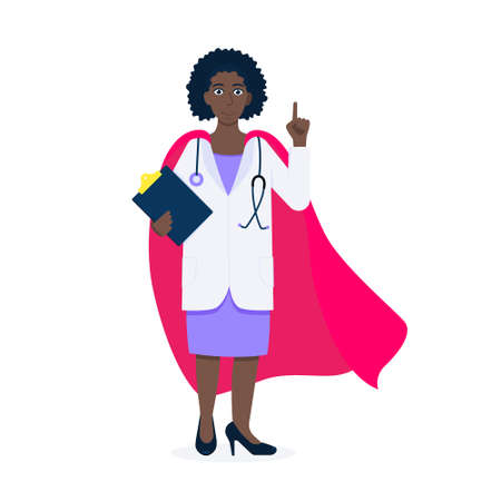 Young adult doctor hospital medical employee with hero cape behind fights against diseases and viruses on frontline flat style vector illustration. Doctor physician medical clinic staff new hero.