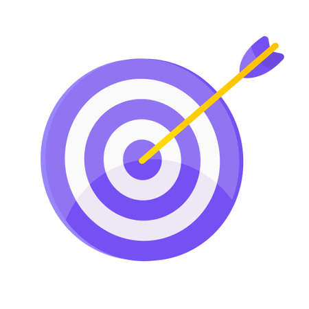 Target icon with arrow in the bullseye with shadows on it. Goal achieving symbol icon sign vector banner illustration isolated on white background flat style design.