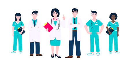 Medical staff doctors team clinic employee vector illustration isolated on white background. Hospital or medical clinic staff doctor, surgeon, nurse standing up with equipment.
