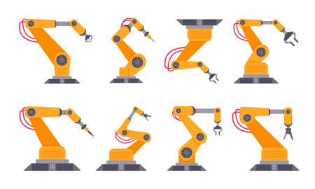 Robotic arm set flat style design vector illustration isolated on white background. Robot arms or hands. Industrial manipulator. Modern smart factory industry 4.0 technology manufacturing Illustration