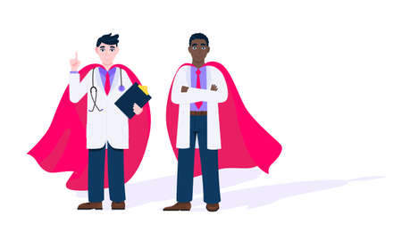 Two doctors with hero cape behind hospital medical employee fight against diseases and viruses on frontline flat style design vector illustration. Doctor physician medical clinic staff new hero. Illustration