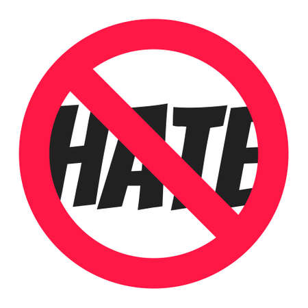 Stop hate round circle icon sign flat style design vector illustration. Anti hate boycott symbol isolated on white background.