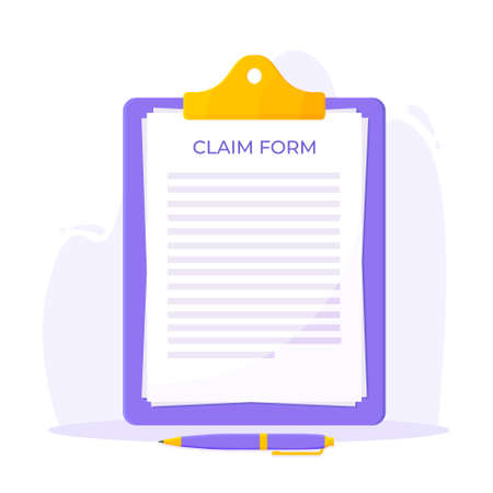 Clipboard with claim form on it, paper sheets, pen isolated on white background flat style design vector illustration. Concept of fill out or online survey insurance application form.
