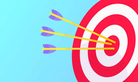 Goal achievemen business concept sport target icon and arrows in the bullseye. Teamwork results icon sign vector banner illustration isolated on light blue background flat style design. Illustration