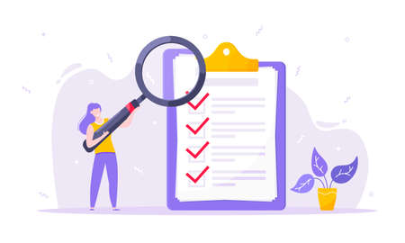 Task done business concept tiny person with magnifying glass nearby giant clipboard. Complete checklist and check mark ticks flat style design vector illustration isolated white background.